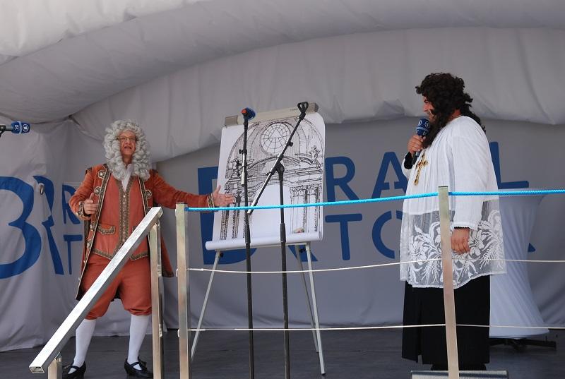 Egid Quirin Asam stellt Propst Patricius Heydon II. den Entwurf des Rohrer Hochaltars vor